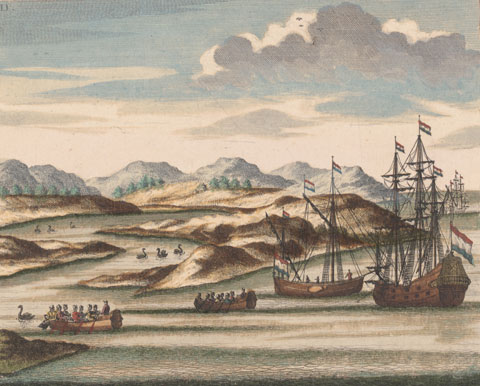 Vlamingh_ships_at_the_Swan_River,_Keulen_1796